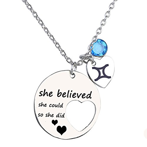 Personalized Cutout Stainless Steel Necklace with Zodiac Signs and Birthstone Engraved