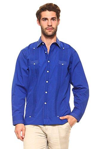 Men's Cotton Blend Guayabera Shirt Button Down Long Sleeve With Gingham Print Accent Trim Chacabana (XL, Royal Blue)