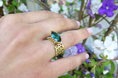 Tourmaline Filigree Ring, Handmade Statement Cocktail Chunky Ring Made of Solid 18k Yellow, Rose or White Gold