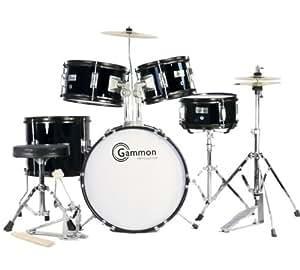 Complete 5-Piece Black Junior Drum Set with Cymbals Stands Sticks Hardware & Stool for Kids Children