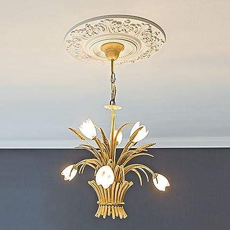 Rosace 156057 Profhome /Élement d/écorative /Élement pour plafond style Rococo-Baroque blanc /Ø 54,5 cm