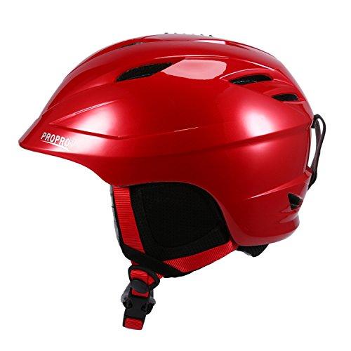 SUNVP Unisex Snowboard Racing Helmets Integrally Warm Windproof Snow Sports Ski Helmet (Burgundy, L)