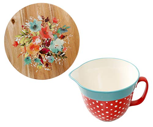 The Pioneer Woman 2.83-Quart Batter Bowl, 1-Count, Polka Dot bundle with The Pioneer Woman Willow 12-Inch Revolving Food Server