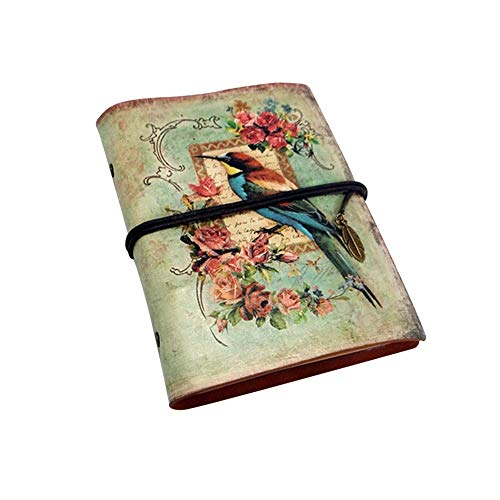 - Notebook, Notepad Journal, European Style Loose-Leaf Hand Book, Retro PU Leather (Color : Bird)