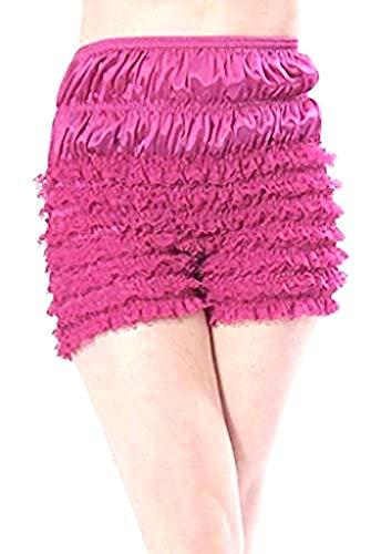 Malco Modes Womens Sexy Ruffle Panties Tanga Dance Bloomers Sissy Booty Shorts (Small, Berry)