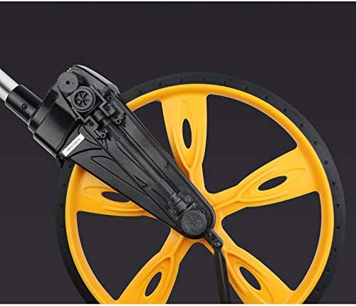 SHJMANPA Collapsible Measuring Wheel, Portable Handheld Mechanical Wheel Range Finder Machine Max Measuring Range 99999.9M for Measure Road Land, yellow