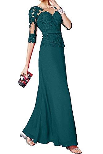 Abendkleider Jugendweihe mia Spitze Brau Attraktive Kleider Partykleider Festlichkleider Dunkel Tuerkis Kleider Langarm Damenmode La Chiffon wAXUZXq