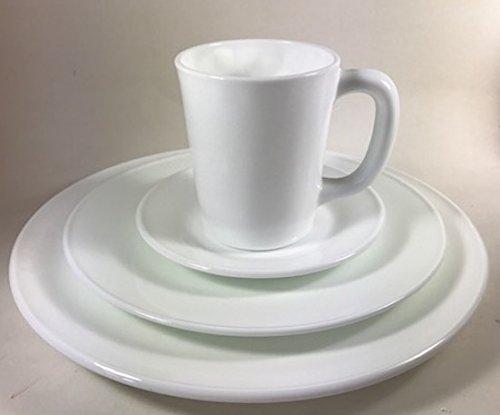 Plain & Simple - Bread / Salad / Dinner Plates & Coffee Mug - Mosser Glass USA - 4 Piece Tableware Setting (Milk Glass)