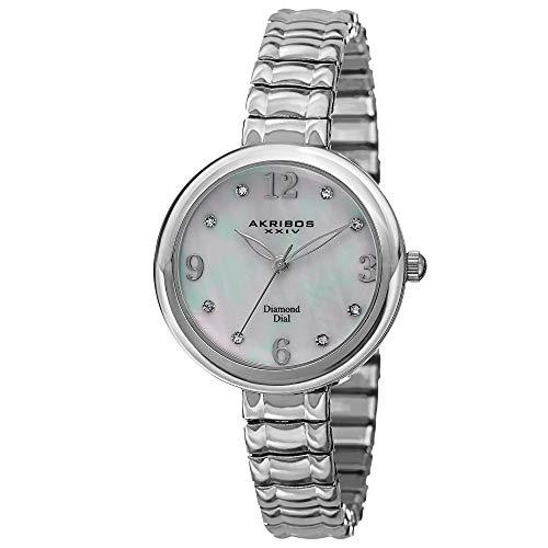 Akribos XXIV Women's  Genuine Diamond Hour Marker - Quartz Movement Watch with Mother of Pearl Dial on Stainless Steel Bracelet -AK765