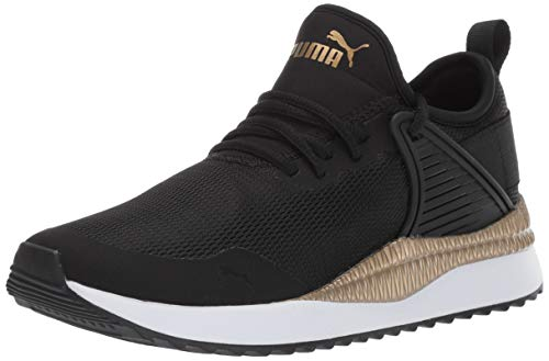 PUMA Women's Pacer Next Cage Sneaker, Black-Gold, 7.5 M US