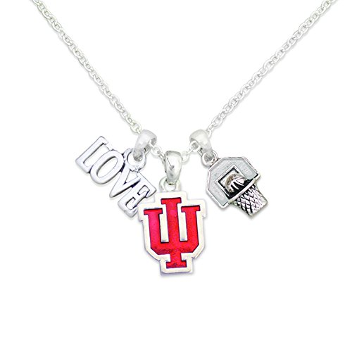 FTH Indiana Hoosiers Silver Tone Slam Dunk Basketball Charm Necklace