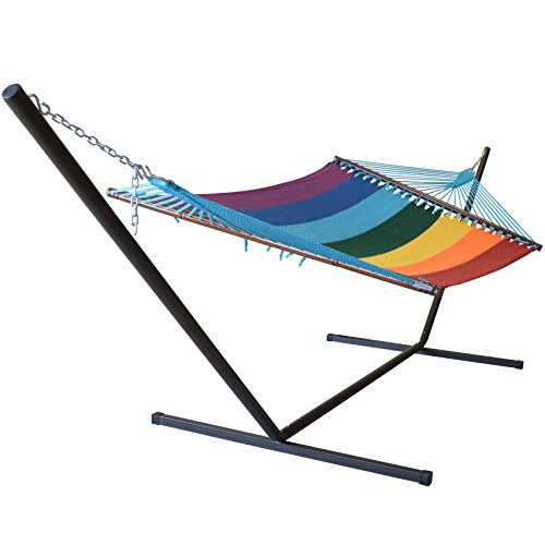 Jumbo Caribbean Hammock in Rainbow and Metal Tribeam Stand Combo
