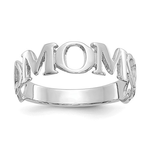 14k Heart Beaded (JewelrySuperMartCollection 14k White Gold Mom Heart Ring (6mm Width) - Size 9.5)