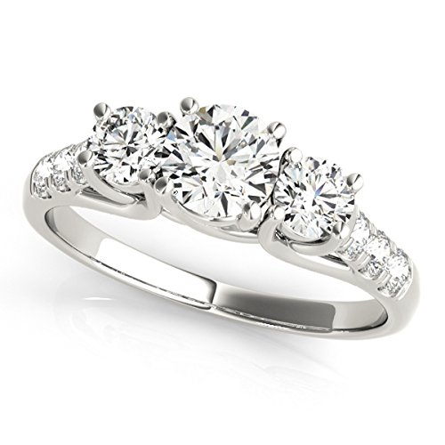 (MauliJewels 1/2 Carat Engagement Ring Crafted In 14k Solid White Gold )