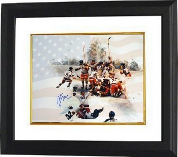 Mike Eruzione Signed Autograph 1980 Team USA Olympic Hockey 8x10 Photo Framed Team with Flag Miracle on Ice - Authentic Autograph (1980 Framed Olympic Hockey)