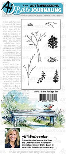 Art Impressions WC5073 Journaling Watercolor Rubber Stamps-Bible Foliage
