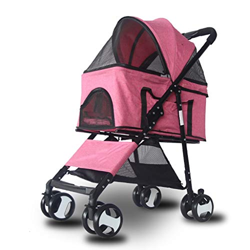 Jzmzt Pet Stroller Separate Dog Stroller Foldable Lightweight Split Four-Wheeled Pet Car Small and Medium Dog Universal Wagon with Detachable Compartment (Color : Pink)
