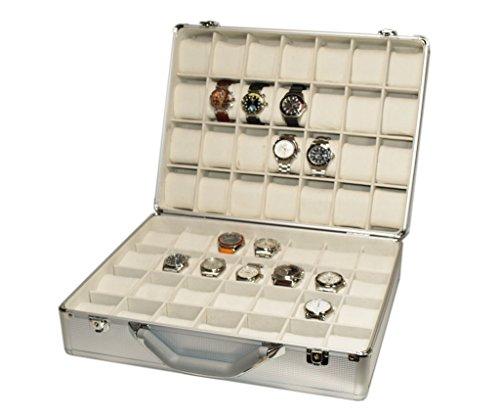 Campione Collections Valigetta Portaorologi da viaggio Scatola custodia Cofanetto per 56 orologi in alluminio