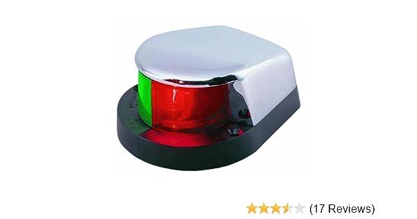 """Boat Navigation 3/"""" Chrome BOW LIGHT Bi-Color Red Green Lens Fixed Mount 12 Volt"""