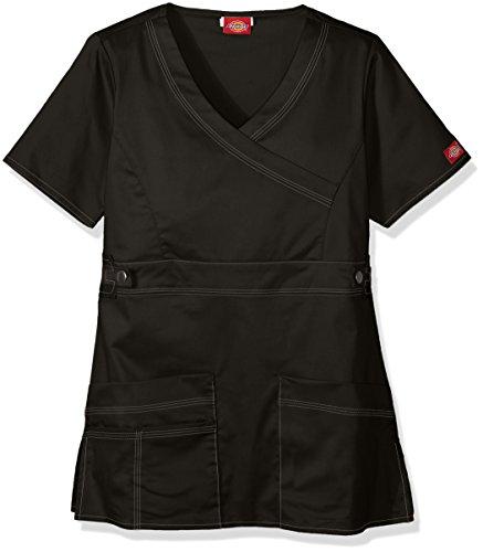 Dickies Women's GenFlex (Contrast) Youtility Mock Wrap Top, Black, XX-Small