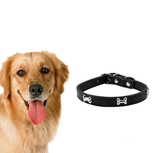 (Potelin Pet Collar Adjustable PU Leather Dog Collar Pet Necklace with Silver Bone Decorations Pet Supplies S Black )