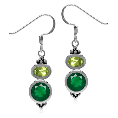 2.32ct Natural Emerald Green Agate & Arizona Peridot 925 Sterling Silver Flower Dangle Hook ()