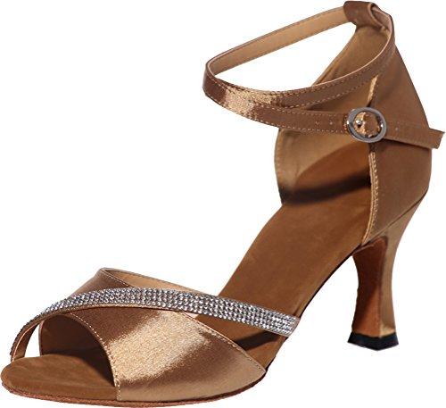Vimedea Mujeres Professional Latin Dance Zapatos Sexy Fashion Tango Cha-cha Swing Ballroom Party Boda Prom Sudue Sole 3in Correas De Tobillo Peep Toe Satin Brown