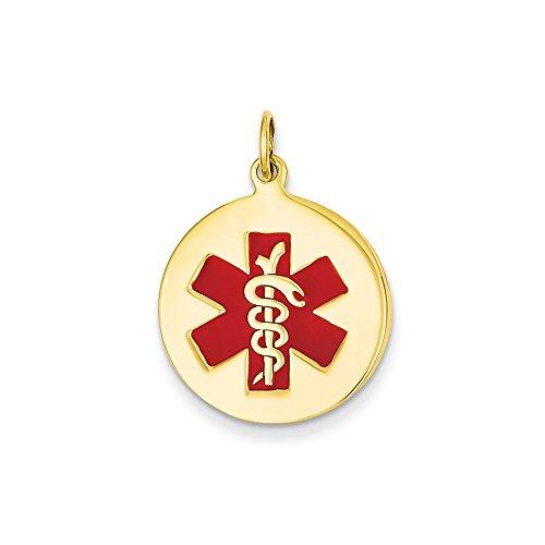 - Mia Diamonds 14K Yellow Gold Medical Jewelry Pendant (27mm x 19mm)