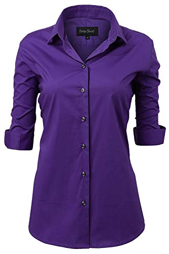 Button Down Shirts for Women Formal Work Wear Simple Purple Shirts Size 18 ()