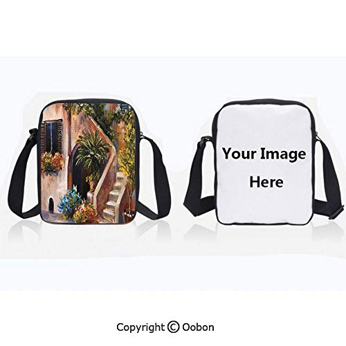 Polyester Anti-Theft Cross-Body Bag Unisex Adult Terrace Flowers and Garden House Greece with Rustic Window Oil Painting Green Brown and Peach Zipper Bucket Anti Theft Bag For Journey