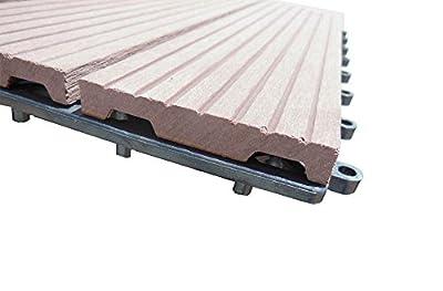 "IncStores Century Outdoor Living ""DIY"" Patio Deck Composite Interlocking Flooring Tiles - 10 Pack Covers 10 Sqft"