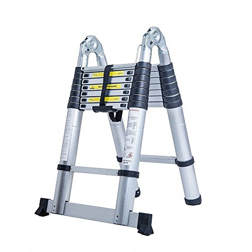 Senrob Aluminum Telescopic Extension Ladder,Extendable Folding Multi-Purpose Ladder Max 330 lbs. Capacity (16.5 FT) Telescoping A-frame Ladder