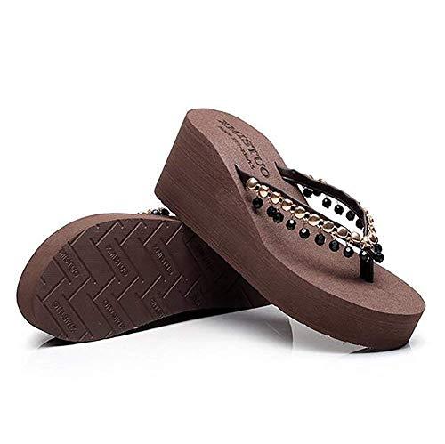 cn39 Chaussures Us8 Marron De Beige Us5 Eu35 Décontractées Talons Bascules Uk3 Mesdames Marche Cn34 À Tongs Taille Épais Hauts eu39 D'été coloré uk6 Pantoufles 8BwCxgHw