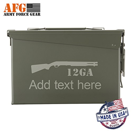 Personalized New 30 Cal Ammo Box Can 12GA ShotGun Customized Laser Engraved All-Metal Waterproof Ammunition case, Best Portable gun Safe Custom Gift For Father's Day