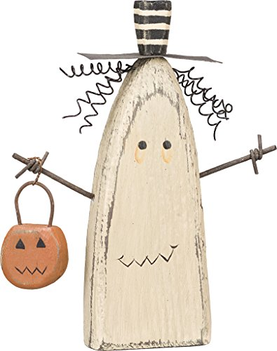 Primitive Halloween Decorations (Primitives by Kathy Chunky Ghost Sitter Holding Pumpkin Basket Halloween Wood)