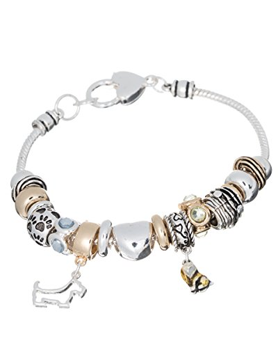 Two-tone I love Dogs Dog Theme Multi Bead Designer Bracelet with Dog Charm & Heart Clasp (Dog Theme Charm Bracelet)