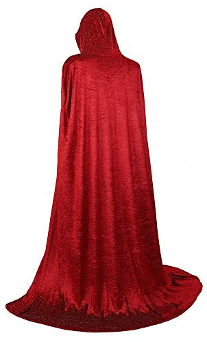 frawirshau Unisex Hooded Cloak Cape Full Length Halloween Cosplay Costumes Masquerade Cloak Luxury Red]()