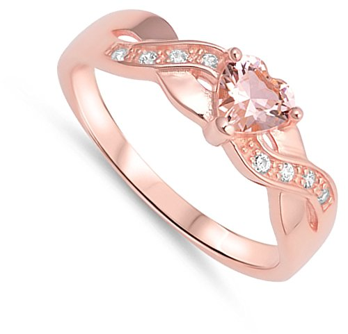 Pink CZ Criss Cross Heart Promise Ring New .925 Sterling Silver Band Size 6 (RNG17635-6)
