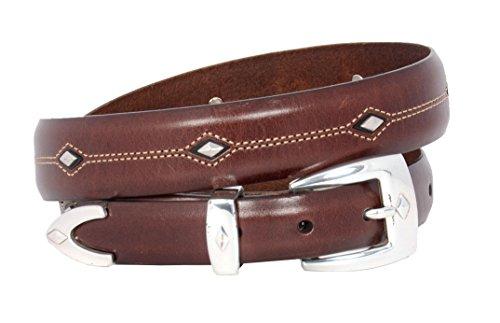Tony Lama Men's Denver Diamond-Shaped Stud Belt Brown 34