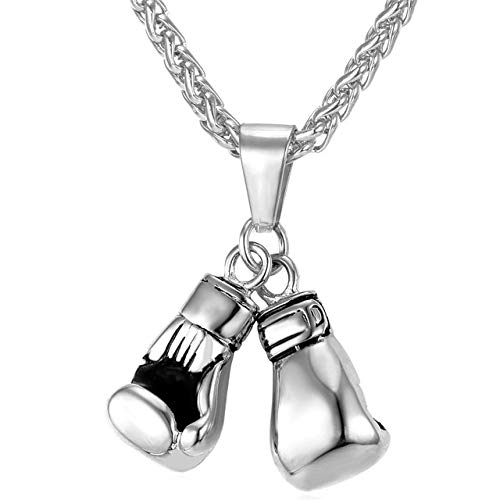 Metal Color: Stainless Steel Davitu U7 Men Necklace Gold Color Stainless Steel Hip Hop Chain Pair Boxing Glove Pendant Charm Fashion Sport Fitness Jewelry Wholeslae