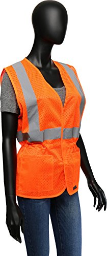 West Chester 47208 Class 2 High Visibility Ladies Fitted Mesh Vest: Orange, Small/Medium