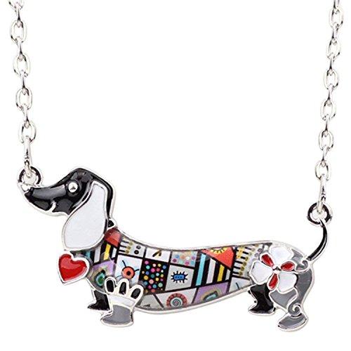 (Enamel Pet Dachshund Dog Choker Necklace Alloy Pendant Chain Collar Animal Jewelry For Women,Black)