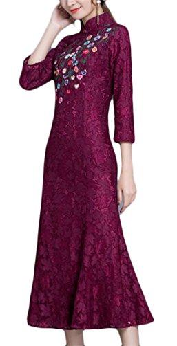 Jaycargogo Manches Longues En Dentelle Florale Élégante Des Femmes Broderie Florale Style Chinois Robe Rouge Vin