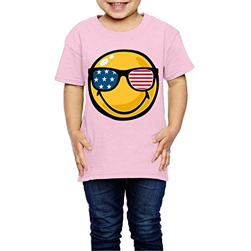 T-Shirt Smiley Face American Flag Sunglasses Girls Boys Toddler ()