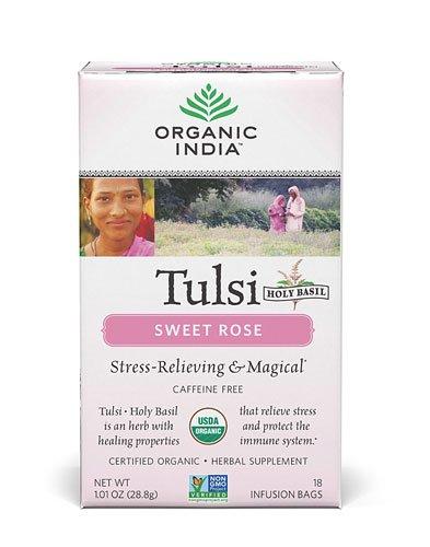Organic India Organic Tulsi Herbal Tea, Sweet Rose, 18 Tea Bags (Pack of 2)