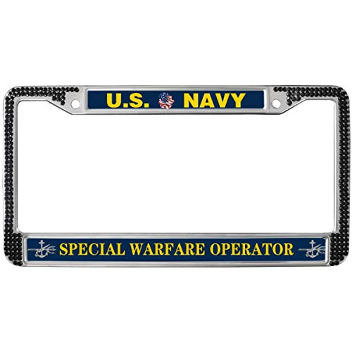 GND US Navy Special Warfare Operator License Plate Frame Black Diamond,United States Navy Diamond License Plate Frame Crystal Stainless Steel License Plate Frame for US Vehicles