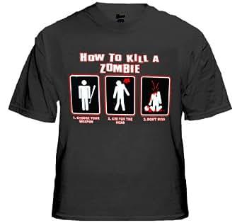 How To Kill A Zombie T-Shirt #1254 (Mens Small, Black)