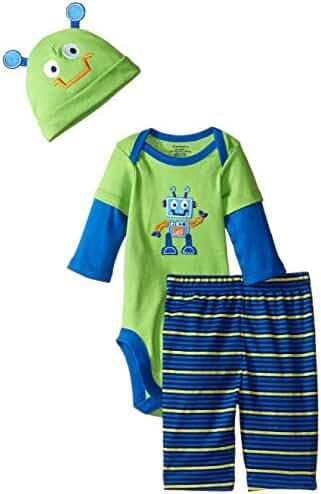 Gerber Boys' 3 Piece Bodysuit, Cap, and Pant Set