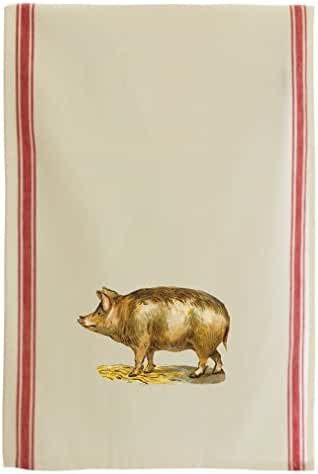 Fat Pig Pets Animlas Vintage Look Retro Stripe Dish Kitchen Towel Red