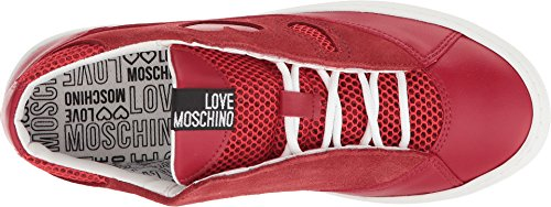 Love Moschino Women's Suede Platform Sneaker Red 35 M EU by Love Moschino (Image #1)